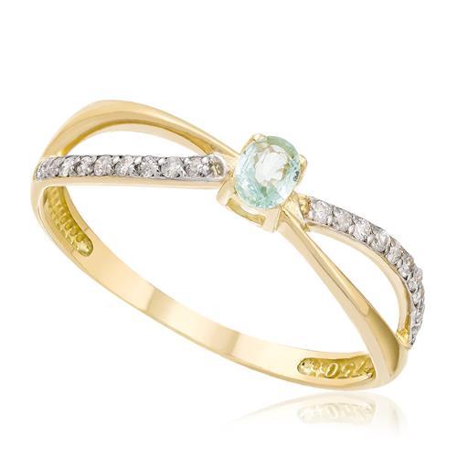 Anel com 20 Diamantes e Turmalina Paraíba de 15 pts., em Ouro Amarelo
