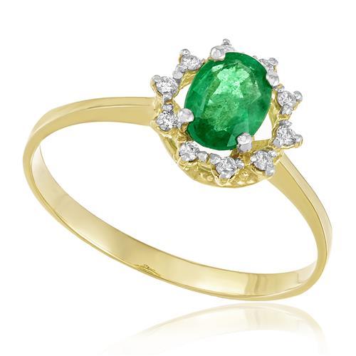 Anel com Diamantes totalizando 10 pts. e Esmeralda de 1,0 Ct., em Ouro Amarelo