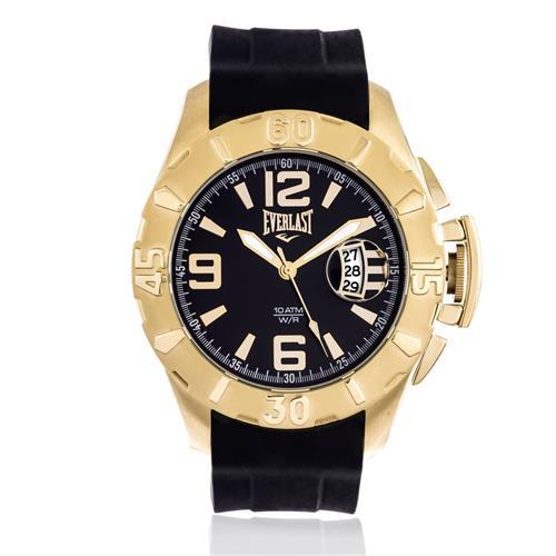 Relógio Masculino Everlast Analógico E568 Catraca Dourada