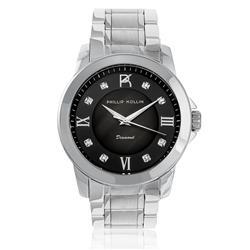 Relógio Feminino Phillip Kollin Diamond Silver Black ZY28127T com 8 Diamantes