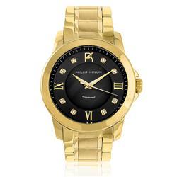 Relógio Feminino Phillip Kollin Diamond Gold Black ZY28127U com 8 Diamantes