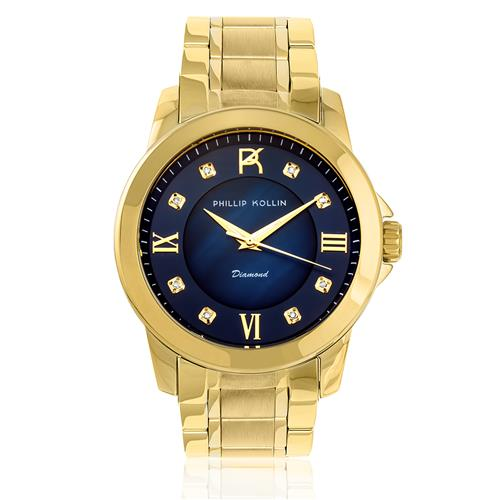Relógio Feminino Phillip Kollin Diamond Gold Blue ZY28127A com 8 Diamantes