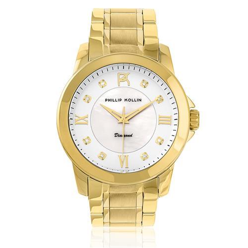 Relógio Feminino Phillip Kollin Diamond Gold White ZY28127H Madrepérola