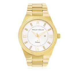 Relógio Feminino Phillip Kollin St. Maarten Royalty Gold Silver ZY28056H com Diamante