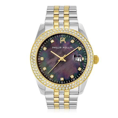 Relógio Feminino Phillip Kollin Malta Pearl Mixed Gold Black ZY28074P Fundo Preto