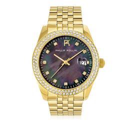 Relógio Feminino Phillip Kollin Malta Pearl Gold Black ZY28074U com 11 Diamantes