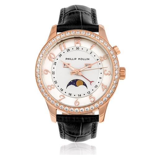 Relógio Feminino Phillip Kollin Cartagena Rose ZY28118M Couro