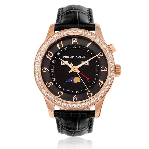 Relógio Feminino Phillip Kollin Cartagena Rose ZY28118P Couro