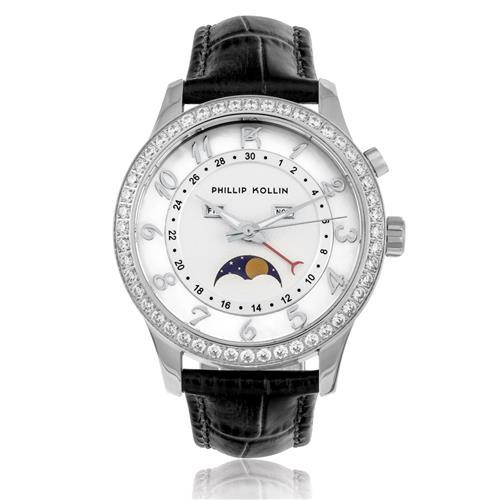 9730c11a017cf Relógio Feminino Phillip Kollin Cartagena Silver ZY28118Q Couro