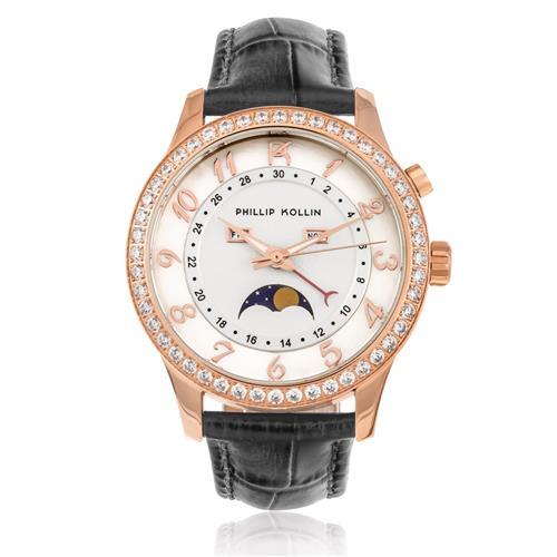 Relógio Feminino Phillip Kollin Cartagena Rose ZY28118S Couro
