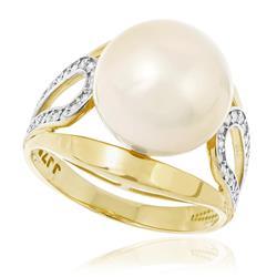 Anel com 20 Diamantes e Pérola de 12 mm, em Ouro Amarelo