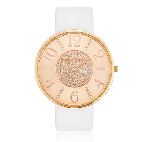 4711f2519 Relógio Feminino Victor Hugo Analógico 10004LSR/32 Couro Branco
