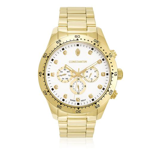 80b52ee21de Relógio Constantim Daytona Gold White ZW30278H Dourado