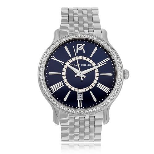 Relógio Feminino Phillip Kollin Calabria Silver Blue Ref ZY28038F Prata