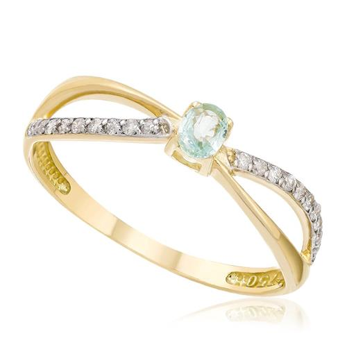 Anel X com 20 Diamantes e Turmalina Paraíba, em Ouro Amarelo