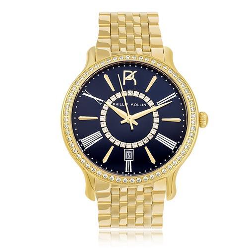 Relógio Feminino Phillip Kollin Calabria Gold Blue Ref ZY28038A Dourado