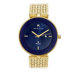 Relógio Feminino Phillip Kollin Ibiza Diamond Gold Blue Ref ZY28029Z Dourado