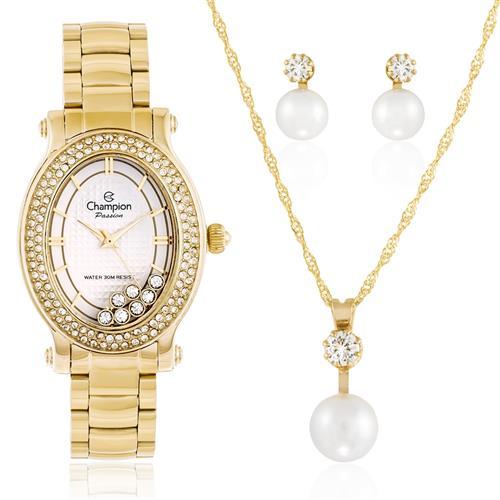 Relógio Feminino Champion Passion CN29838W Kit Colar e Par de Brincos