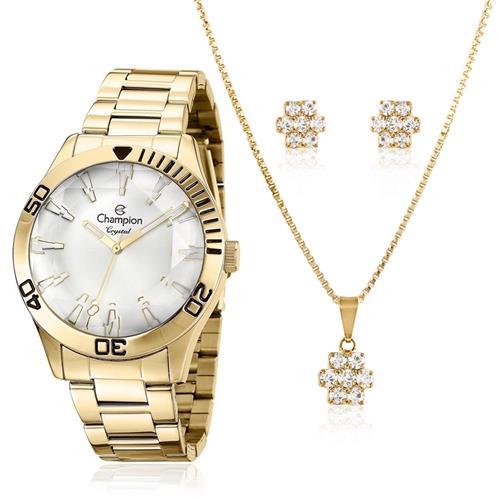 Relógio Feminino Champion Passion CN27214W Kit Colar e Par de Brincos