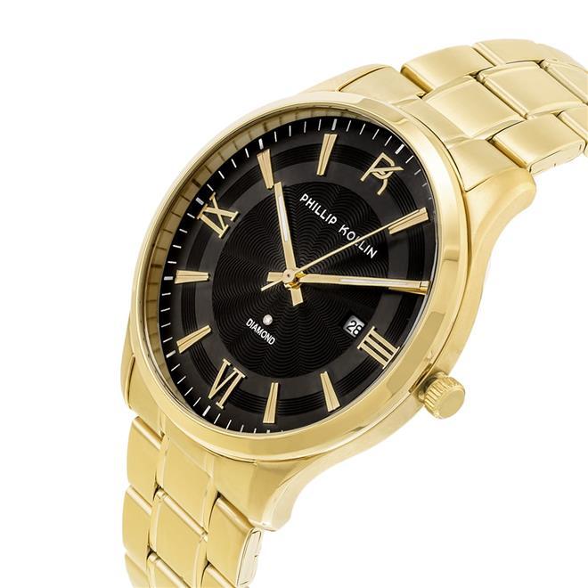 aa2526a0aa5 Relógio Feminino Phillip Kollin St. Maarten Glam Diamond Gold Blue ZY20009A  Dourado. Ampliar