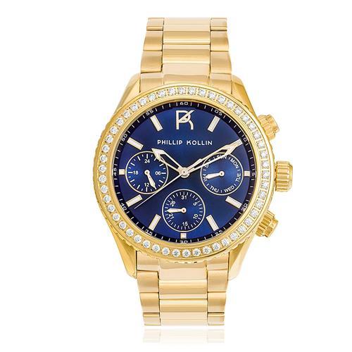Relógio Feminino  Phillip Kollin Monte Carlo Gold Blue Ref ZY28145A Dourado