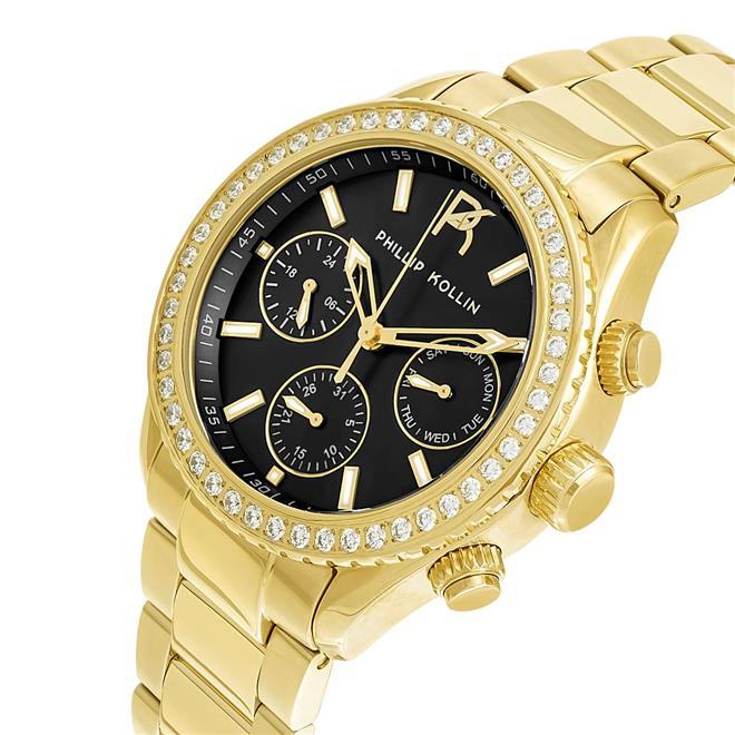 6652eeb2b6c Relógio Feminino Phillip Kollin ZY28145U Monte Carlo Gold Black. Ampliar