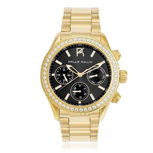 Relógio Feminino Phillip Kollin ZY28145U Monte Carlo Gold Black