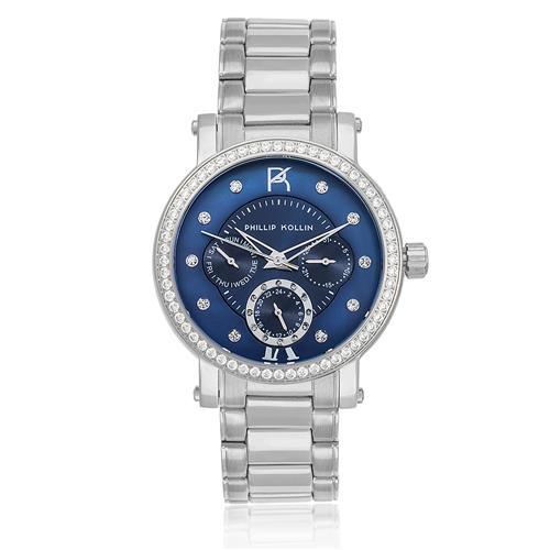 Relógio Feminino Phillip Kollin Bali Silver Blue Ref ZY28190F Prata