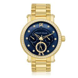 Relógio Feminino Phillip Kollin Bali Gold Blue Ref ZY28190A Dourado