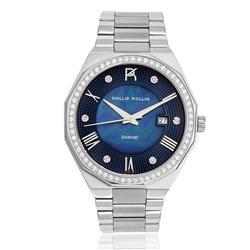 Relógio Feminino Phillip Kollin St. Maarten Diamond Silver Blue Ref ZY28163