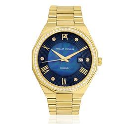 Relógio Feminino Phillip Kollin St. Maarten Diamond Gold Blue ZY28163A Dourado