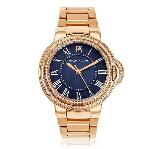 Relógio Feminino Phillip Kollin Malta Rose Blue Ref ZY28136Z Rose