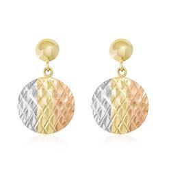 Par de Brincos Redondos com efeito Diamantado, em Ouro Amarelo
