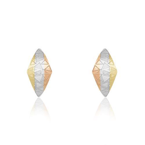 Par de Brincos com formas triangulares e detalhes em Ouro 3 Cores, em Ouro Amarelo