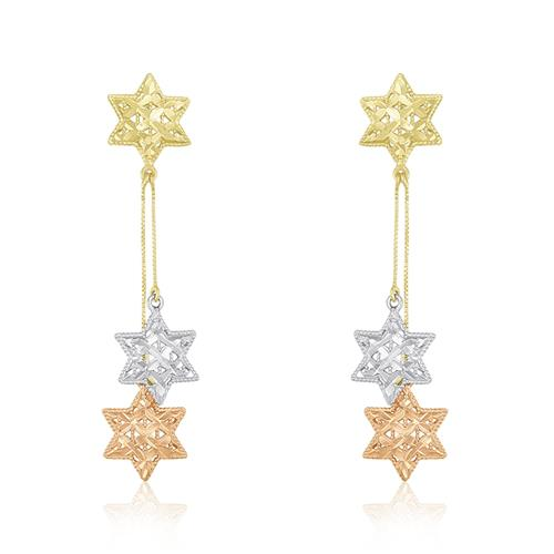 Par de Brincos Estrelas em Ouro 3 Cores