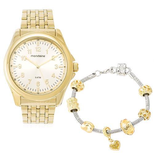 Relógio Feminino Mondaine Kit com Pulseira Berloqueira Ref. 76599LPMVDE2K1 Dourado