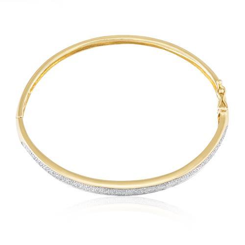 Bracelete Algema com efeito Diamantado, em Ouro Amarelo