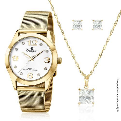 Relógio Feminino Champion Kit Colar e Par de Brincos CN29098W Dourado