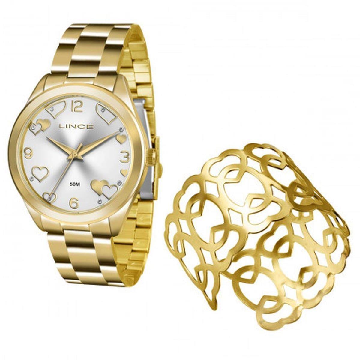 fe5dbab433a Relógio Feminino Lince Analógico LRG4392L K196 Kit Bracelete