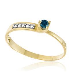 Anel Solitário com Diamante Azul de 11 pts., em Ouro Amarelo com Detalhe em Ródio