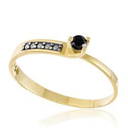 Anel Solitário com Diamante Negro Central de 10 Pts, em Ouro Amarelo