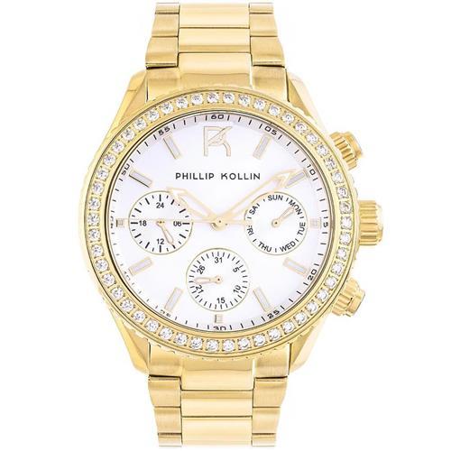 b190904489a Relógio Feminino Phillip Kollin Monte Carlo ZY28145H Gold Silver