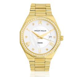 Relógio Feminino Phillip Kollin St. Maarten Diamond Gold White ZY28163H Dourado