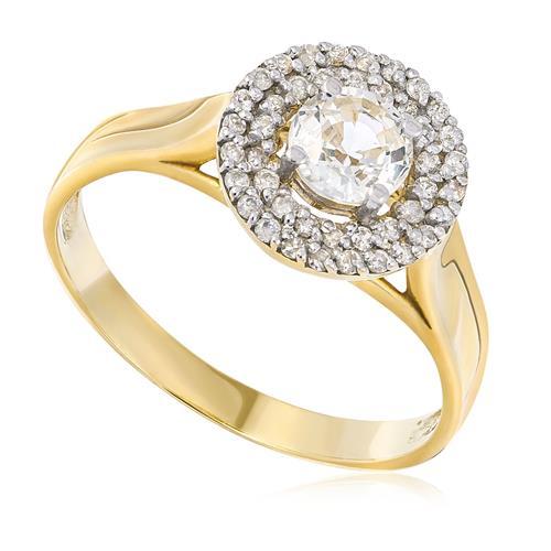 2ca45553095b0 Anel de Ouro com 22 Pts em Diamantes e Safira Branca de 56 Pts ...