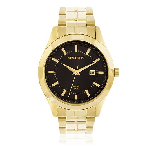 Relógio Masculino Seculus Long Life 20407GPSVDA1 Dourado