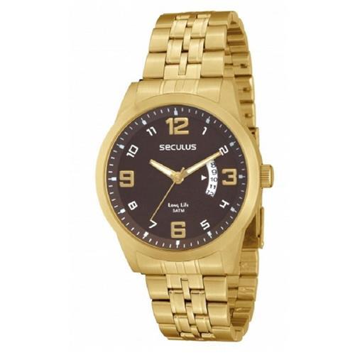 Relógio Masculino Seculus Long Life Analógico 28211GPSBDA2 Dourado