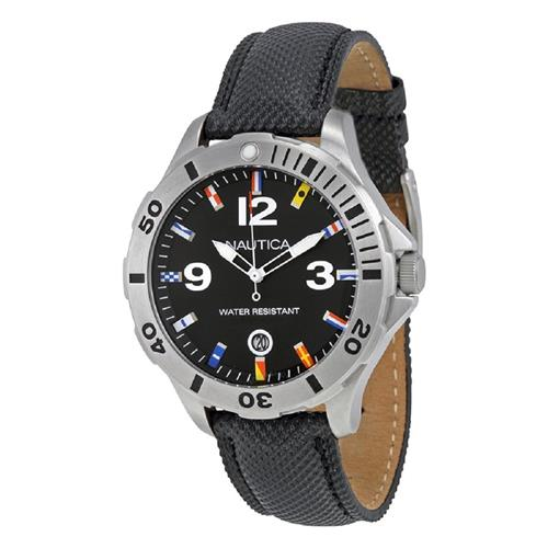 b85edea4833 Relógio Masculino Nautica Black Leather Strap N12565G Couro