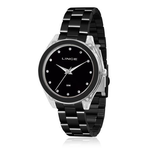 Relógio Feminino Lince Analógico LRN4431P P1PX Aço Negro