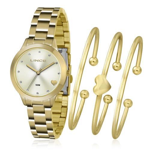 Relógio Feminino Lince Analógico LRG4450L KT84 Kit com Braceletes