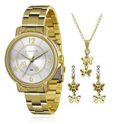 Relógio Feminino Lince Analógico LRG4320L K125 Kit Colar e Par de Brincos